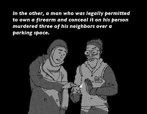 IMAGE: Zoom out to show the candles are being held by a young woman in hijab and a young man with glasses and a UNC letter jacket. TEXT='In the other, a man who was legally permitted to own a firearm and conceal it on his person murdered three of his neighbors over a parking space.'